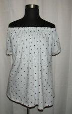 Joe Boxer white & black polka dot off the shoulder top, Plus size 3X
