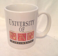 UNIVERSITY OF CINCINNATI DAD COFFEE MUG / CUP WITH BLACK GOLD & RED PRINT EC