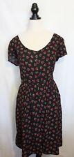 CITY CHIC ~ Black Red Green Cherry Print Button Neckline Rockabilly Day Dress M