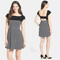 French Connection Dress Womens Size 12 Black White Stripe Cap Sleeve Boat Neck