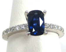 Blue Sapphire Ring 18K White Gold Pave Solitaire Certified Heirloom 1.86ct $4,74
