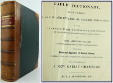 1825*GAELIC DICTIONARY*ARMSTRONG*GRAMMAR*APPENDIX OF ANCIENT NAMES*OSSIAN**3kg**