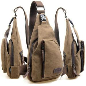 Mens Canvas Travel Military Messenger Satchel Crossbody Shoulders Chest Bag YG