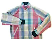 "[ EXCELLENT ] GANT MEN MADRAS VTG 90' MULTICOLOURED BLOCK JACKET  M 22"" PIT"