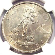 1905-S Philippines Peso 1P - Certified NGC AU53 - Rare Date - Near MS UNC!