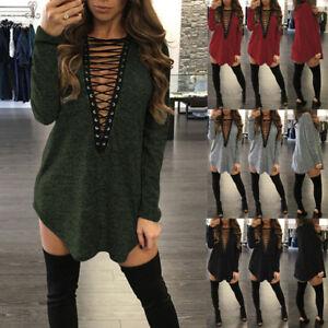 UK STOCK Womens Low Cut V Neck Lace Up Long Sleeve Tops Blouse Shirt Mini Dress