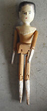 "Antique Late 1800s Jointed Peg Wood Girl Character Doll 11 3/4"" Tall"