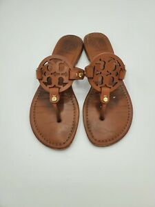 Tory Burch Miller Brown Leather Sandals Size 8 Thong slippers