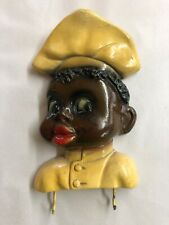 Vintage Chalkware Black Americana Chef Wall Key Hanger with Hooks
