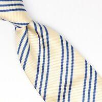 Sartoriale Profuomo Mens Silk Necktie Pale Yellow Blue Triple Stripe Weave Italy