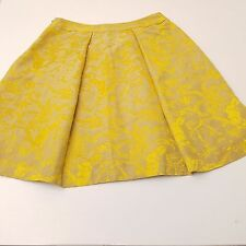 Anthropologie Parameter Skirt Women's Size 8 Yellow Gold Floral At Knee A Line