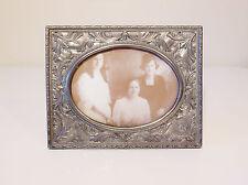 Large Silver Plate Photo Picture Frame - Ornate Art Nouveau Flower & Leaf Design