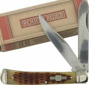 Rough Rider Amber Jigged Bone Trapper Folding Pocket Knife RR22034