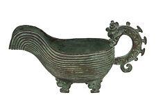 Cina 19. JH. rituale-a Chinese Bronzo Yi Libation Vessel-Qing chinois cinese