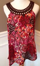 Promod Size 10 Sleeveless Floral Top With Embroidered Neckline