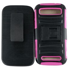 For ZTE Warp SYNC N9515 Cell Phone Case Hybrid Hard Cover + Belt Clip Pink