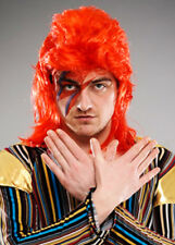 Mens 1970s Ziggy Stardust Style Red Wig