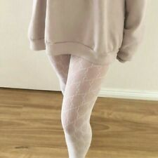 White tights fishnet patterned monogram one size gg stockings