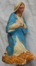 n°71] Santon ancien Devineau (Marie) en plâtre (crèche de Noël) Nativity