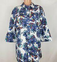 Jessica London Women's Size 12 Multi Color Shirt Floral 3/4 Sleeve Button Front