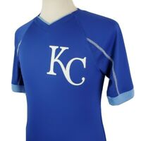 Majestic Kansas City Royals Cool Base Jersey Small S/S V-Neck Blue MLB Baseball