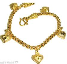 Heart 23K 24K THAI BATH YELLOW Gold Plated Charm Bracelet