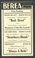 1941 BEREA THEATRE OH SHOWING BACK STREET W/C BOYER & MANY OTHERS