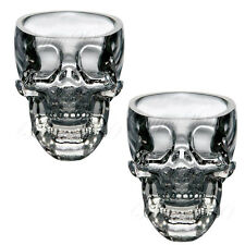 2x Crystal Skull Head Glass Vodka Whiskey Shot Cup Drinking Ware Home Bar NEW