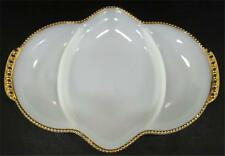 Anchor Hocking Fire-King Milk White Glass Relish Dish Platter Tray 22K Gold Rim
