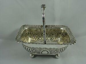 PRETTY VICTORIAN silver SUGAR BASKET, 1898, 167gm