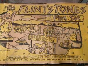 Antique 1960s Marx Flintstones Bedrock Play Set in Original Box With Figures