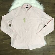 NWT J.CREW Factory Mens Slim Oxford Button Down Shirt Casual Light Pink Size XL