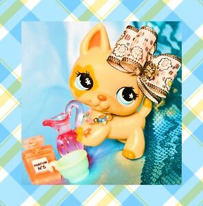 ❤️Authentic Littlest Pet Shop LPS #604 Caramel Blue Flower Eye German Shepherd❤️