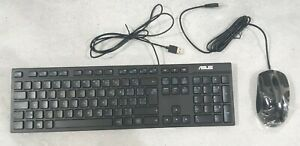 ASUS AW211 Wired PC Computer Desktop Black Keyboard 100% & Mouse French TESTED