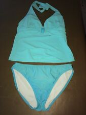 Marks & Spencer/Seafolly Bikini Size 14 Aqua Tie Neck & Back <R8136