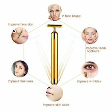 90pcUS 24k Gold Beauty Bar Facial Roller Face Vibration Skincare Massager Device