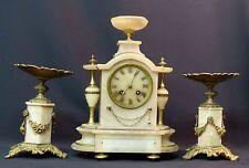 19ème parure cheminée horloge Pendule 31cm Albâtre cassolette guirlandes déco