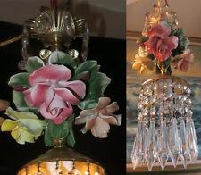 1of2 Porcelain Capodimonte Rose Brass tole chandelier Swag vintage lamp lighting