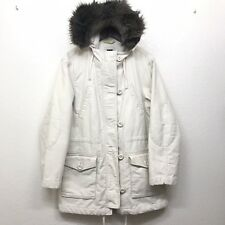 Gap Women's Hooded Faux Fur Heavy Winter Coat  jacket Cream Beige Size Large
