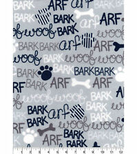 NEW UNCUT FLANNEL FABRIC 3 YARDS X 42 INCHES DOG WORDS WOOF BARK ARF PAWS BONES