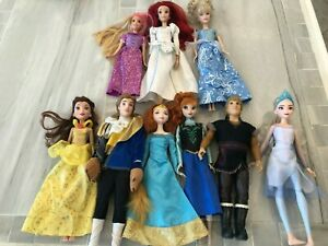 Lot 9 Hasbro Princess Barbie Dolls Frozen, Belle, Beast, Ariel + More