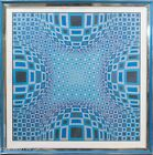 """Rare Victor Vasarely Hand Signed Print """"Four Globes in Blue"""", FINE & RARE"""