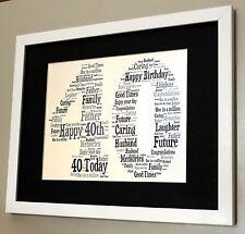 Personalised Word Art 1st 16th 21 30 40 50 60th Birthday 10x8 Print Gift Keepsak