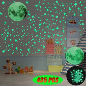 436 Glow In The Dark Plastic Stars Ceiling Wall Art Luminous Space Stickers Moon