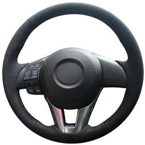Black Suede Car Steering Wheel Cover for Mazda 3 Axela Mazda 6 Atenza CX-5 CX-3