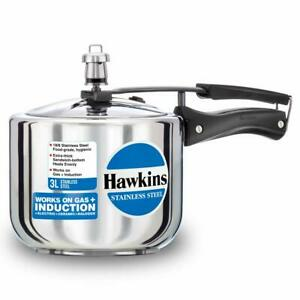Hawkins Stainless Steel Induction Compatible Pressure Cooker (Tall), 3 L, Silver