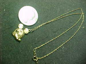 GOLD PLATED Sterling Silver Disney Mickey Mouse Necklace