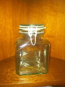 """""""Hermetric A Made in Italy"""" Green Glass Jar with Seal 1700 ml"""