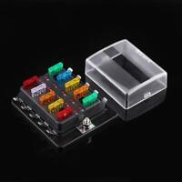 Boîtier Porte Fusible Enfichable Box 10 Emplacements pour Voiture Auto Set