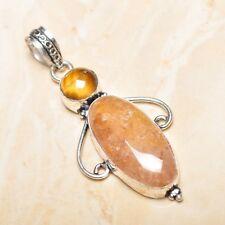 "Handmade Calcite Jasper Gemstone 925 Sterling Silver Pendant 2.5"" #P16034"
